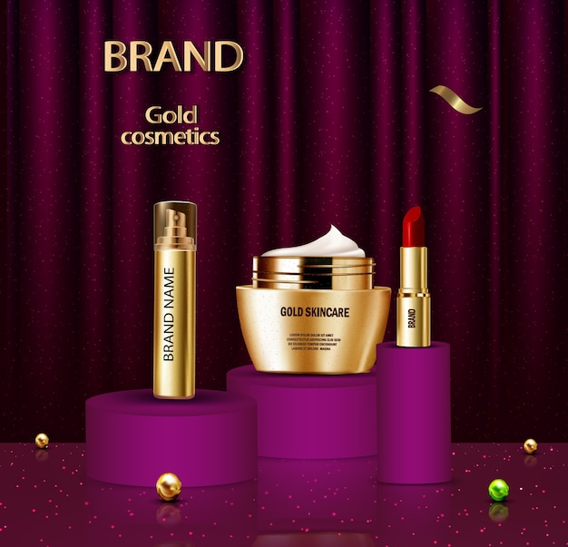 Anúncio de cosméticos dourados de luxo Vetor grátis
