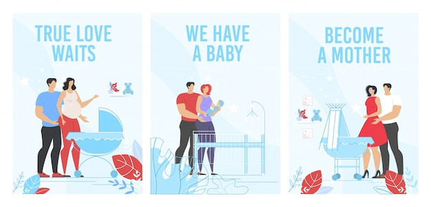 Anúncio de cursos de maternidade pré-natal conjunto de pôster vertical Vetor Premium
