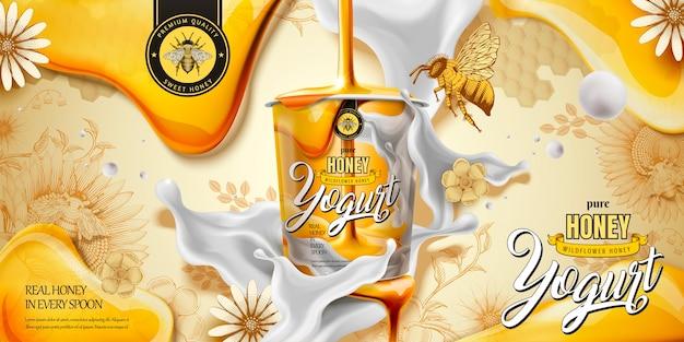 Anúncio de iogurte de mel delicioso com ingrediente escorrendo de cima, fundo em estilo de gravura Vetor Premium