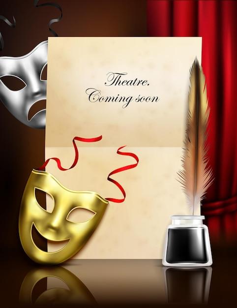 Anúncio de temporada de teatro anúncio composição realista elegante com máscaras de tragédia de comédia caneta de pena de tinta de papel Vetor grátis