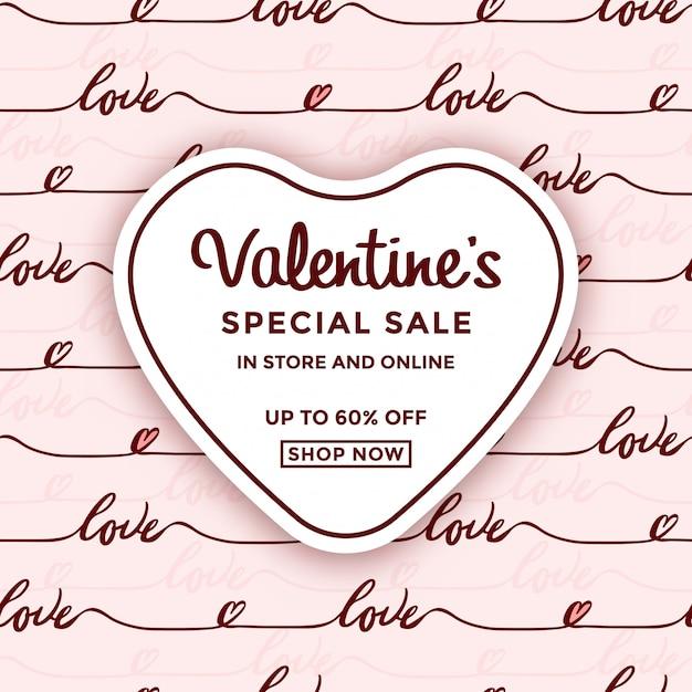 Anúncio de venda de dia dos namorados com moldura de coração Vetor Premium