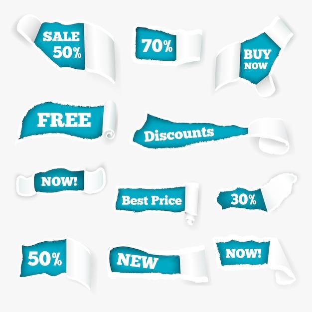 Anúncio de vendas de cachos de papel rasgado criativo expondo preços com desconto em buracos Vetor grátis