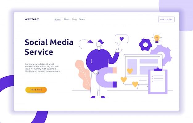 Anúncio de vetor e marketing serviço de mídia social Vetor Premium
