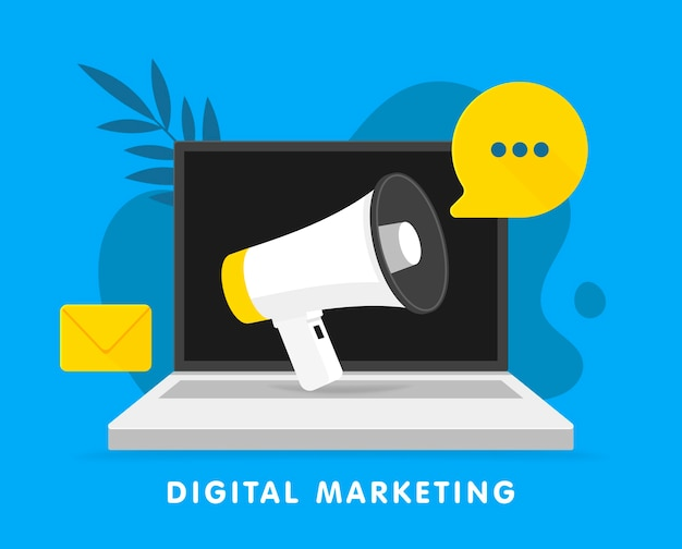 Anúncio megafone no laptop. conceito de marketing digital para redes sociais, promoção e publicidade. ilustração. Vetor Premium