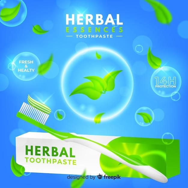Anúncio realista de creme dental fresco Vetor grátis