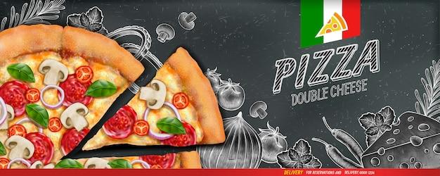 Anúncios de banner de pizza com ilustração de comida e ilustração em estilo xilogravura no fundo do quadro-negro Vetor Premium