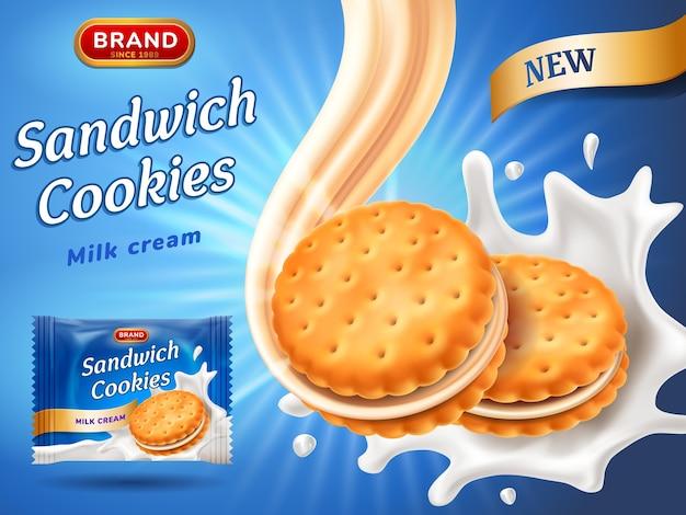 Anúncios de biscoitos tipo sanduíche. Vetor Premium