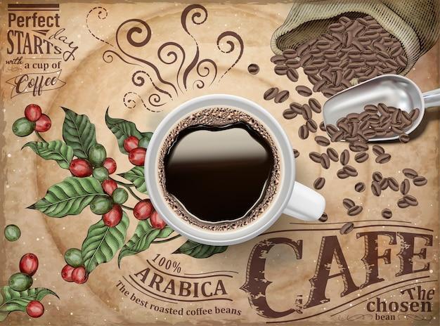 Anúncios de café preto, vista superior da ilustração de café preto em fundo retrô de cerejas e grãos de café Vetor Premium