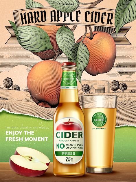 Anúncios de cidra de maçã, bebida refrescante com maçãs e recipientes realistas na ilustração, fundo de cenário rural com gravura retrô Vetor Premium