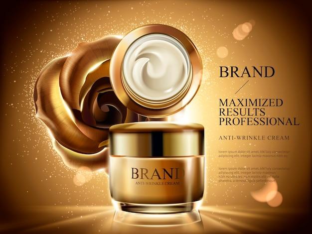 Anúncios de creme anti-rugas, frasco de creme cosmético com luz estourada, brilhos e rosa dourada e plano de fundo na ilustração Vetor Premium