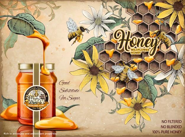 Anúncios de mel natural, mel delicioso escorrido de folhas com frasco de vidro realista na ilustração, apiário retrô e fundo de abelhas melíferas em estilo sombreado Vetor Premium