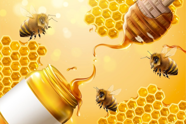 Anúncios de mel puro com abelhas e favo de mel em ilustração 3d em fundo amarelo brilhante Vetor Premium