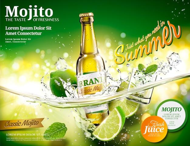 Anúncios de mojito refrescantes com uma garrafa de bebida caindo em um líquido transparente, fundo verde bokeh Vetor Premium