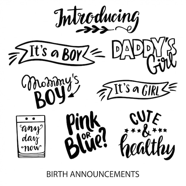 Anúncios de nascimento que rotulam coleção Vetor Premium