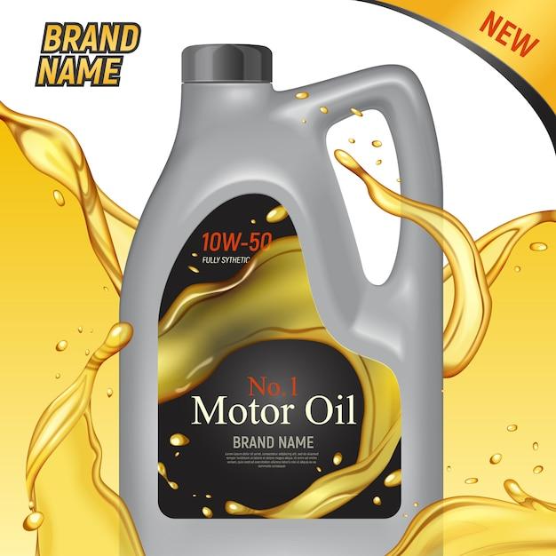 Anúncios de óleo de motor realista esquadram o fundo com imagens de embalagem de lata de plástico marca e ilustração de texto Vetor grátis