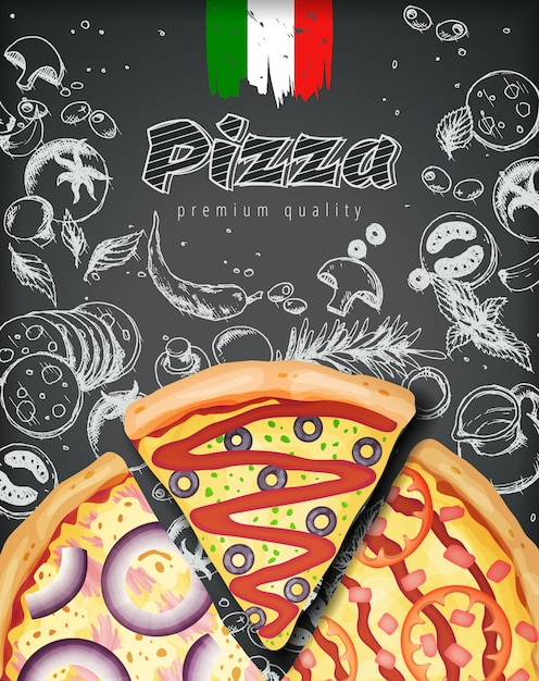 Anúncios de pizza italiana ou menu com massa de coberturas rica ilustração em doodle de giz estilo gravado. Vetor Premium
