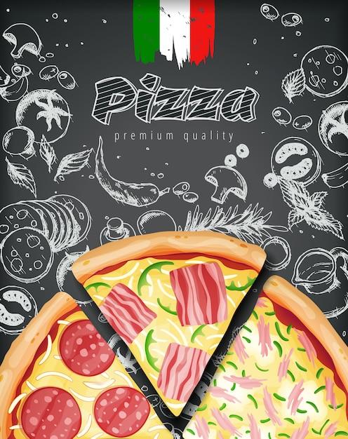 Anúncios de pizza italiana ou menu com massa de coberturas rica ilustração em giz estilo gravado doodle fundo. Vetor Premium