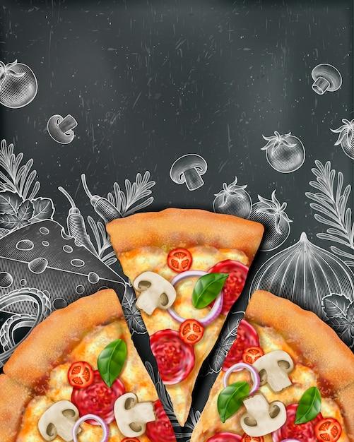Anúncios de pôster de pizza com ilustração de comida e ilustração em estilo xilogravura no fundo do quadro-negro, vista superior Vetor Premium