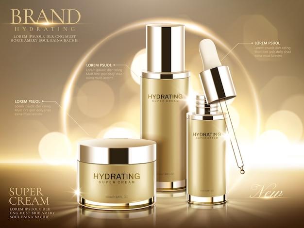Anúncios de produtos cosméticos hidratantes, recipientes de ouro champanhe em fundo bokeh brilhante na ilustração Vetor Premium