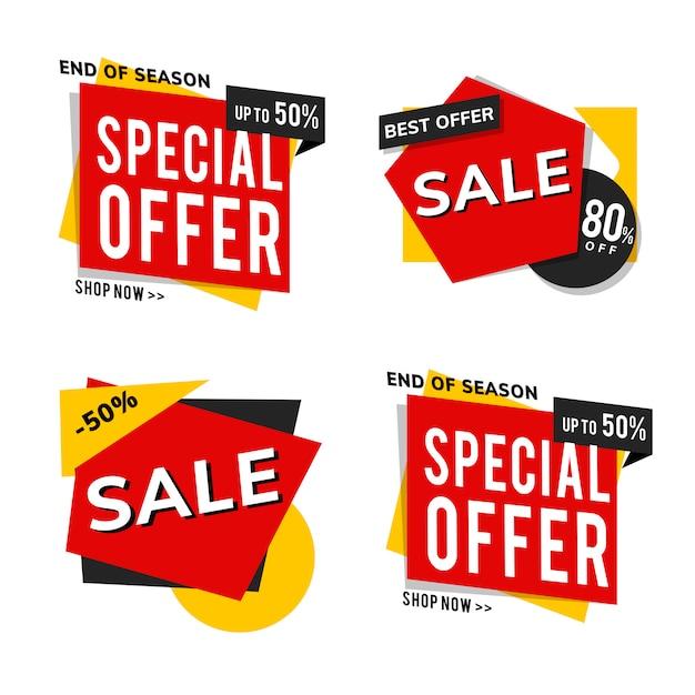 Anúncios de promoção de venda de loja vector set Vetor grátis