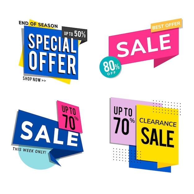 Anúncios de promoção de venda definidos Vetor grátis