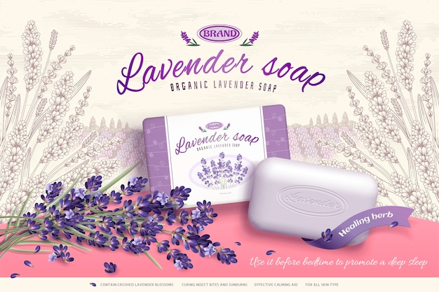 Anúncios de sabonete de lavanda com ingredientes de flores desabrochando, fundo de jardim elegante gravado Vetor Premium