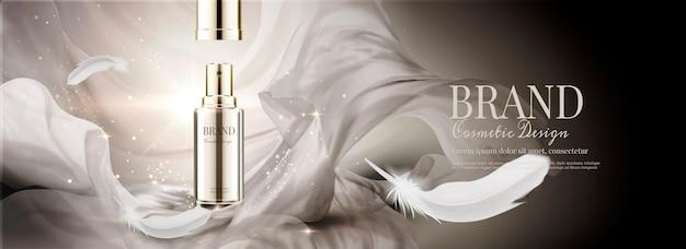 Anúncios em banner de cosméticos com chiffon voador e penas Vetor Premium