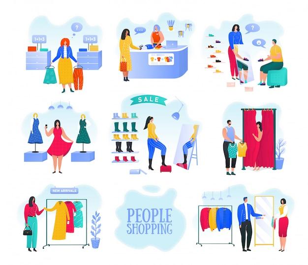 Ao comprar em uma loja de moda, as mulheres escolhem e compram roupas elegantes em uma loja de roupas ou em um conjunto de ilustrações de butiques de roupas. compradoras compram panos na loja. moda e mercado de massa. Vetor Premium