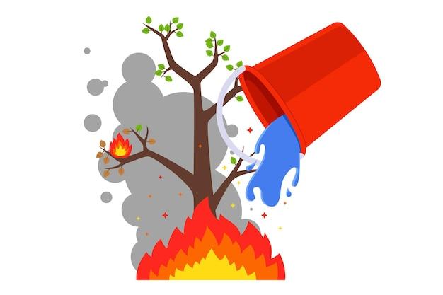 Apague o fogo com um balde de água. incêndios florestais no verão. plano Vetor Premium