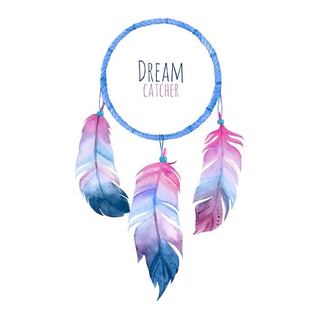 Apanhador de sonhos em aquarela Vetor Premium