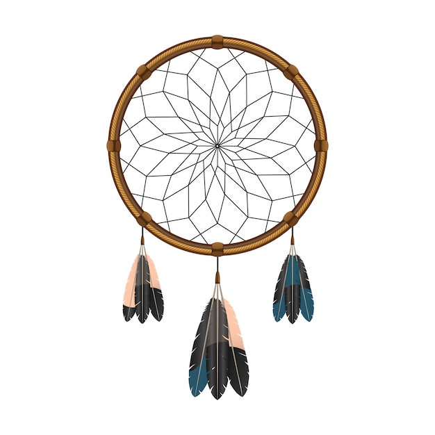 Apanhador de sonhos mágicos índio nativo americano com penas sagradas para filtrar o ícone de pensamentos Vetor grátis