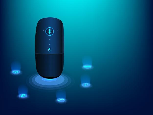 Aparelho de reconhecimento de voz inteligente. Vetor Premium