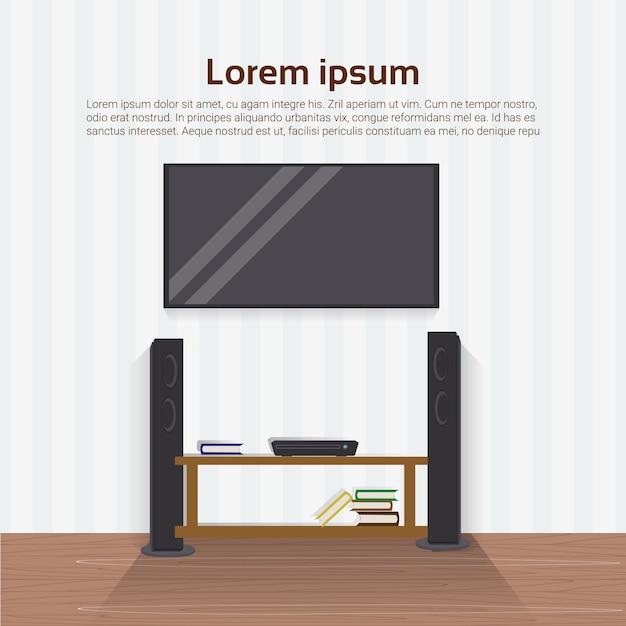 Aparelho de televisão conduzido realístico na parede no projeto de interiores home moderno da sala de visitas Vetor Premium