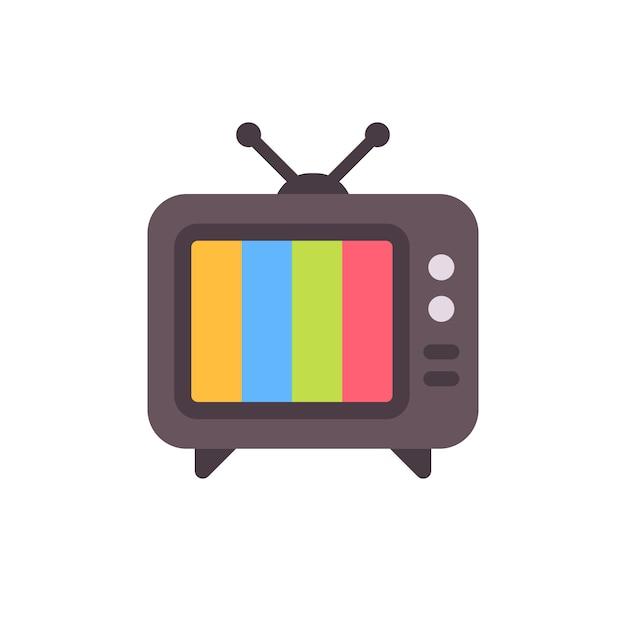 Aparelho de televisão velho com tela de erro. tv retrô sem ícone plana de sinal Vetor Premium
