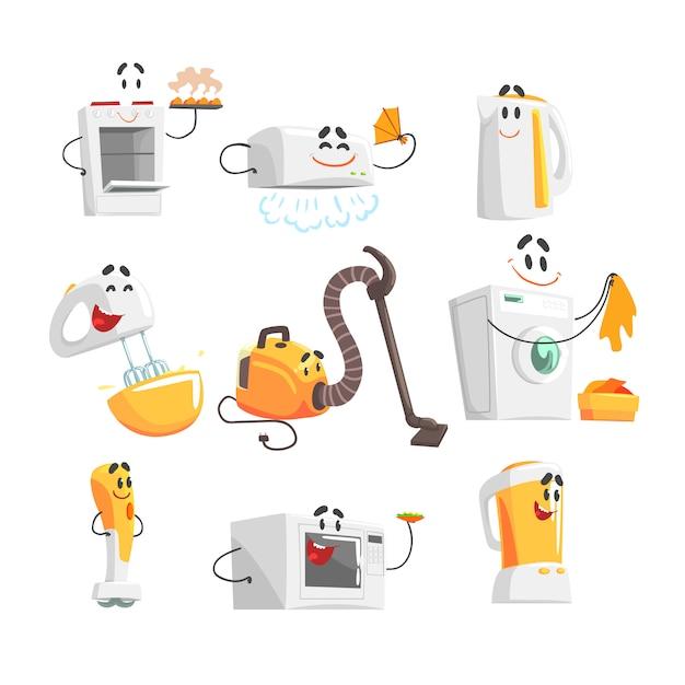 Aparelhos domésticos a sorrir para. ilustrações detalhadas coloridas Vetor Premium