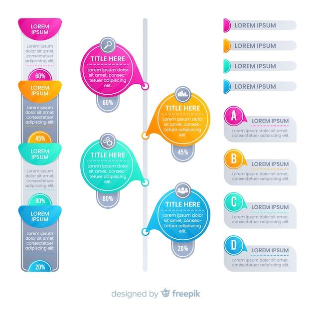 Apartamento colorido gradiente infográficos elementos Vetor grátis