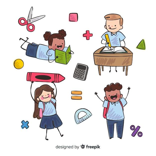 Apartamento, crianças, volta, para, escola, cobrança Vetor grátis