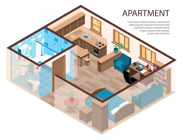 Apartamento de um quarto composição isométrica de design eficiente com cama de canto área de estudo móveis cozinha banheiro Vetor grátis