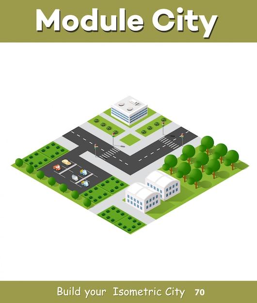 Apartamento isométrico urbano Vetor Premium
