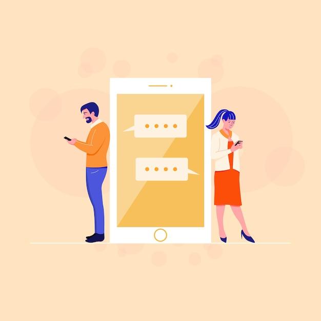 Apartamento masculino e feminino usando o app no smartphone. Vetor Premium