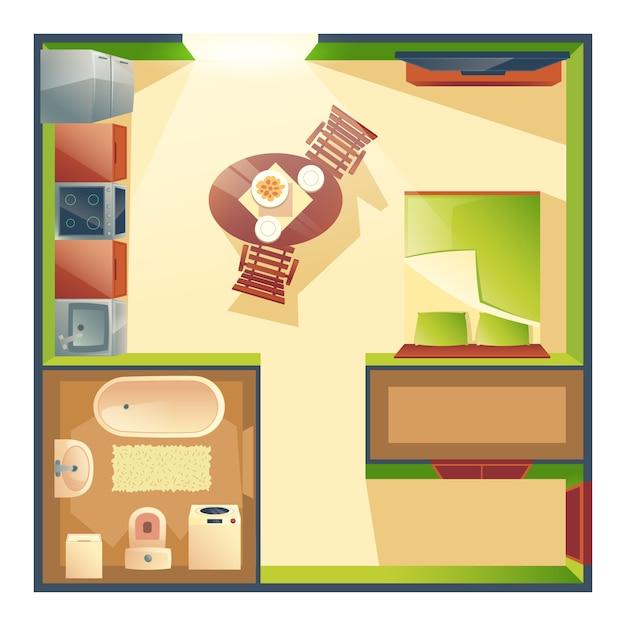 Apartamento pequeno com cozinha, sala de estar e quarto Vetor grátis