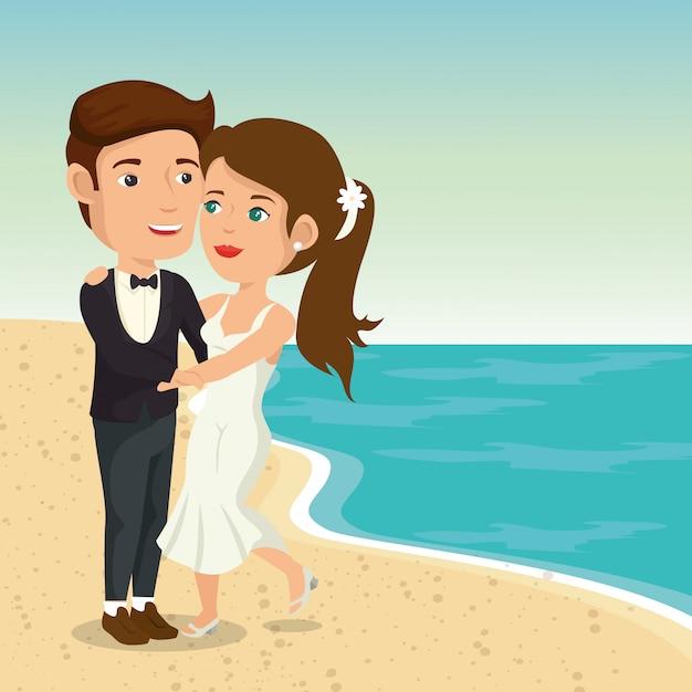 Apenas casal na praia Vetor grátis