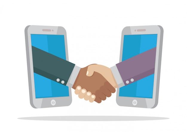 Aperto de mão de dois empresário em smartphone. Vetor Premium