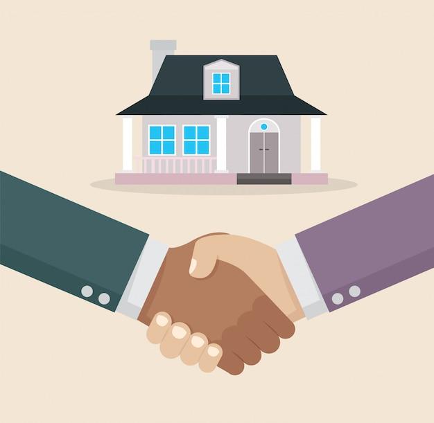 Aperto de mão de empresário negócio de compra em casa. Vetor Premium