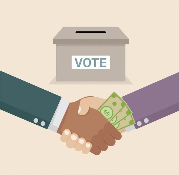 Aperto de mão de negócios com corrupção comprar votos. Vetor Premium