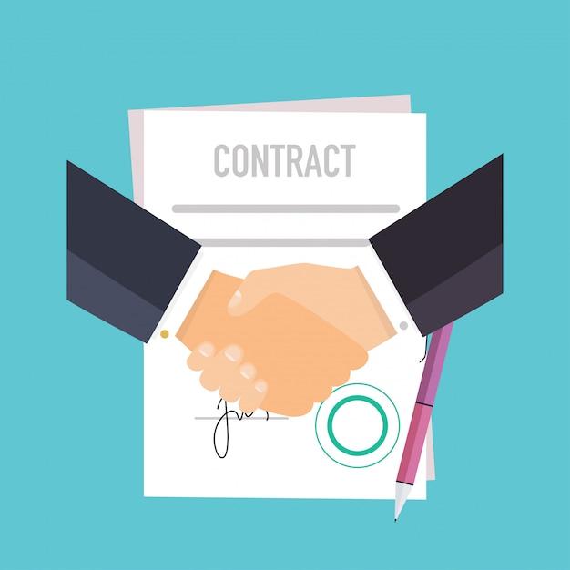 Aperto de mão de pessoas de negócios sobre o contrato. Vetor Premium