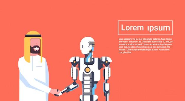 Aperto de mão homem e robô, empresário árabe, agitando as mãos com modelo moderno de conceito de modelo de conceito de inteligência artificial, robótica Vetor Premium