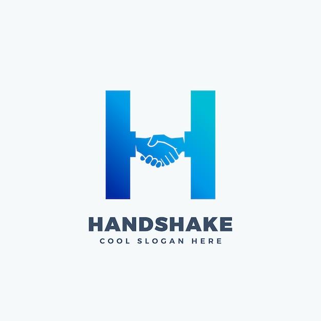 Aperto de mão sinal abstrato, símbolo ou logotipo modelo. shake de mão incorporado no conceito de letra h. Vetor Premium
