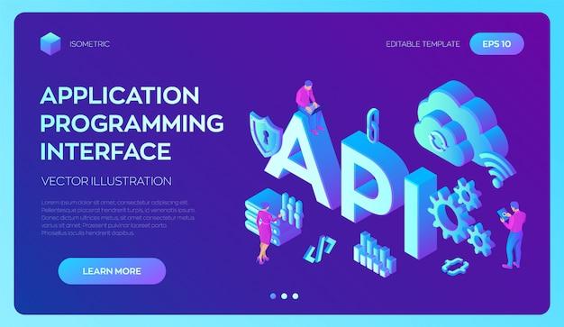 Api. interface de programação de aplicativos. ferramenta de desenvolvimento de software, conceito de tecnologia da informação. Vetor Premium