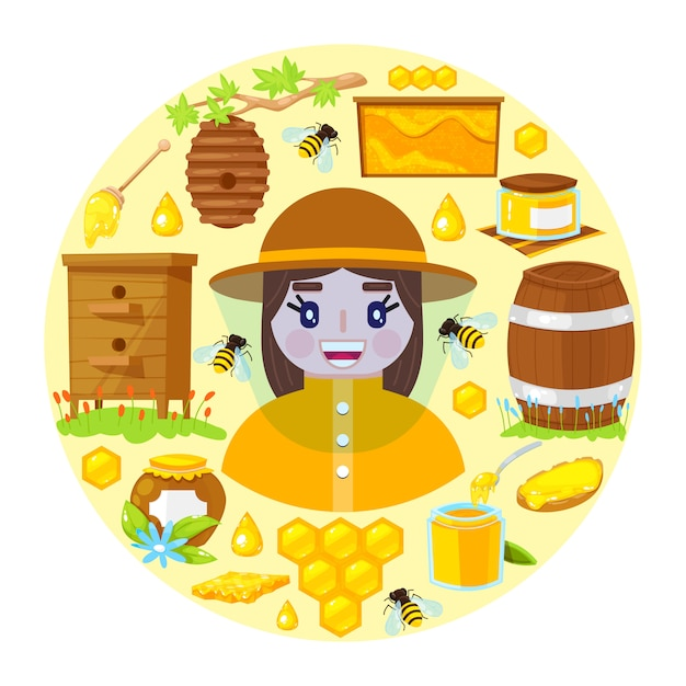 Apicultor e objetos de apicultura Vetor Premium